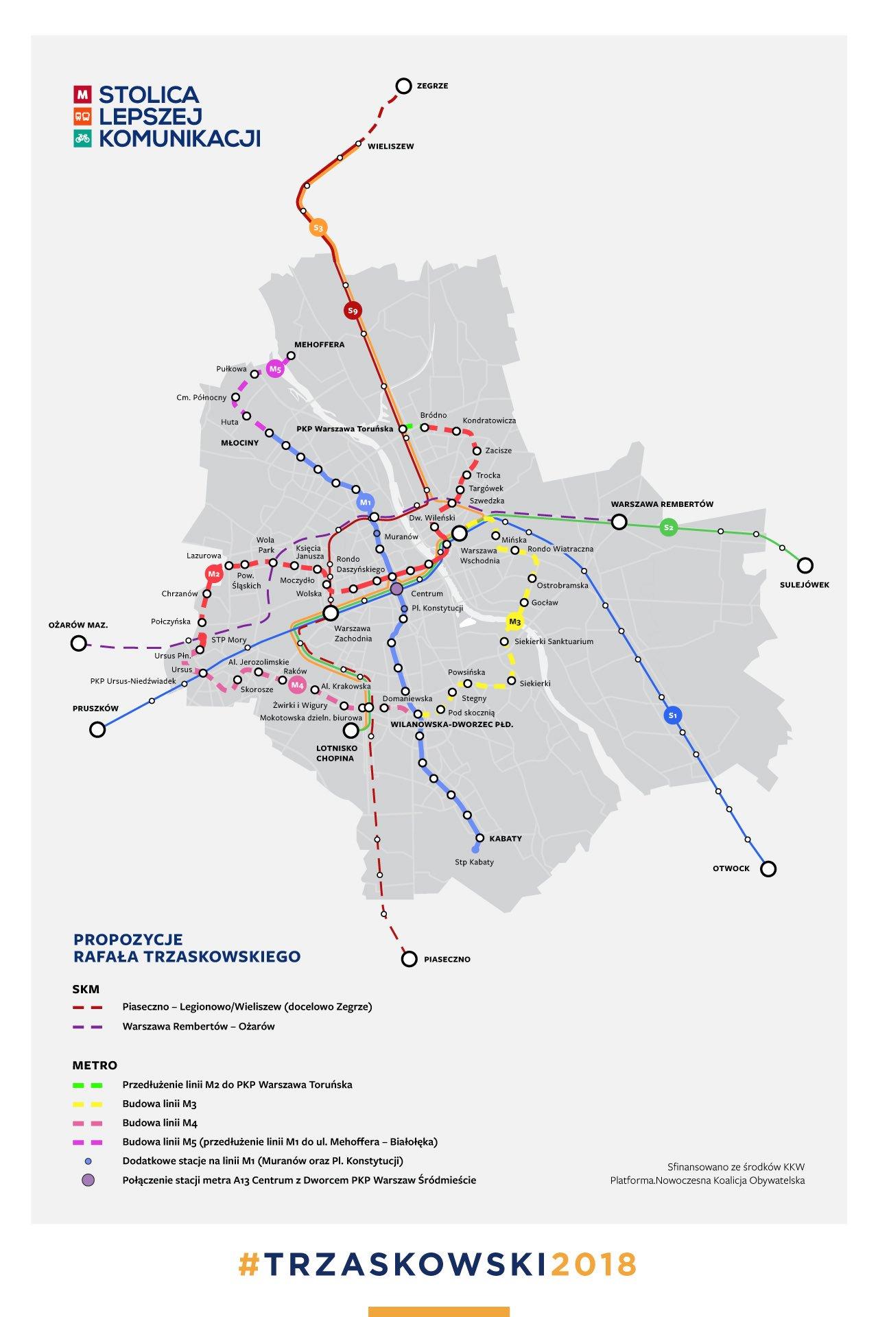 Trzaskowski Zapowiada Nowe Linie Metra Oraz Skm Live 300polityka